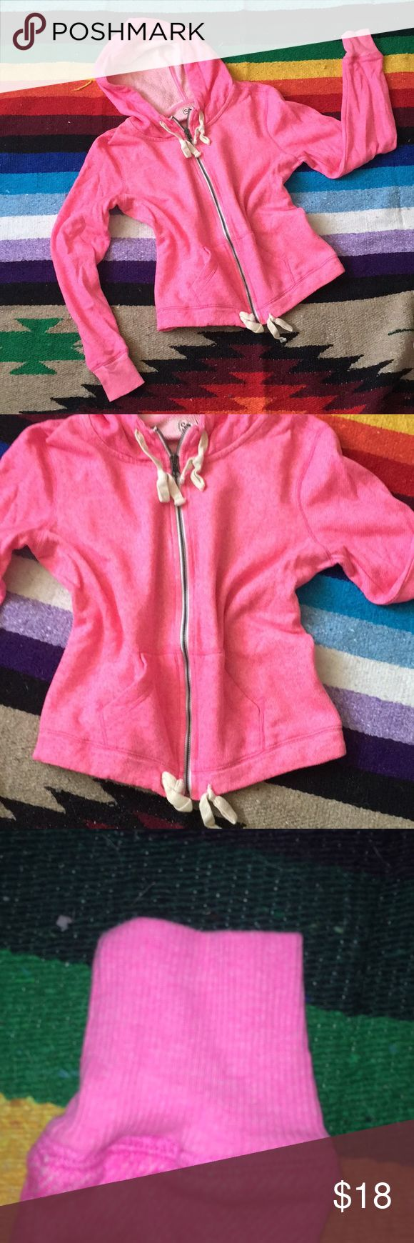 """Pink Zip-up Hoodie SO Pink Zip-up Drawstring Hoodie Size M. NWOT. - Never worn   Approx measurements: Length: 20"""" Shoulder to sleeve hem: 23.5"""" Armpit to armpit: 20"""" SO Tops Sweatshirts & Hoodies"""
