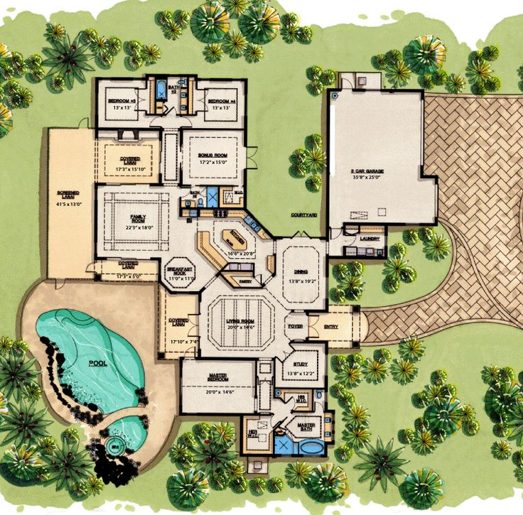 Mediterranean Home Floor Plans: Too Big, But Fun Images On Pinterest