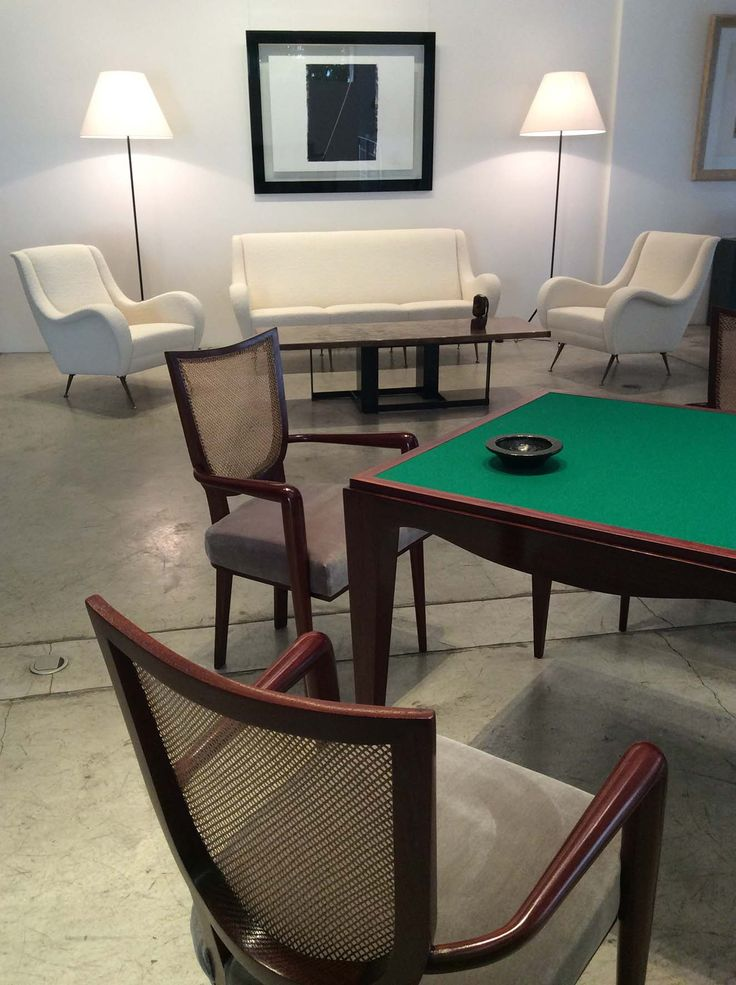 "Bridge table with 4 ""Ecusson"" chairs by Jean Royère, circa 1950"