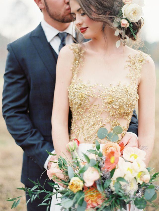 Sheet gold wedding dress | Brandi Smyth Photography for @smittenmag | see more on: http://burnettsboards.com/2014/04/field-dreams-editorial-smitten-magazine/ #gold #weddingdress