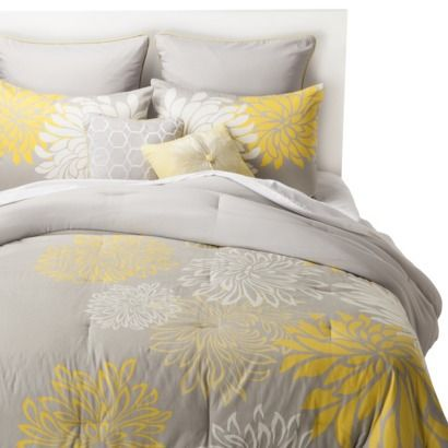 Anya 8 Piece Floral Print Bedding Set - Gray/Yellow - original color scheme you wanted, grey  yellow
