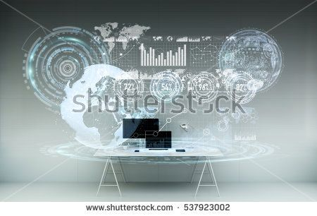 Office with modern devices and digital datas on hologram screens 3D rendering