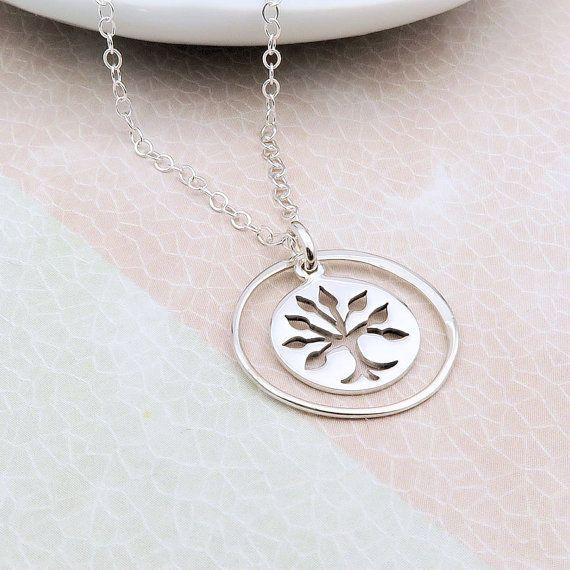 Collier arbre généalogique, arbre de vie dans le cercle de l'éternité, argent sterling, cadeau pour maman