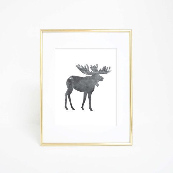 This black and white watercolor moose wall art print is a great addition to any woodland themed gallery wall in a home, office or nursery.