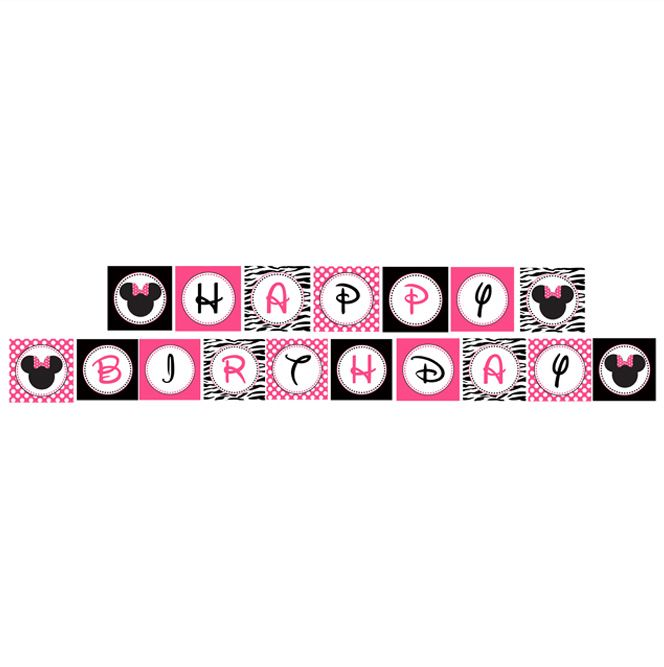 free minnie mouse printables | MINNIE MOUSE PINK ZEBRA PRINTABLE BANNER