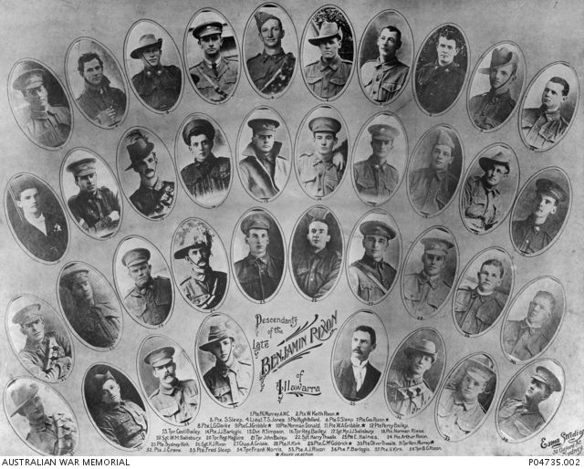 A photo montage of descendants of the late Benjamin Rixon of Illawarra who served in the First World War. Benjamin Rixon was the son of convicts James Rixon, who arrived in New South Wales in 1798 ...