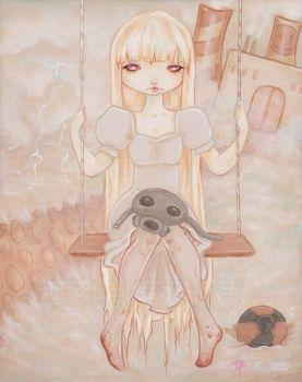 SunnyFell - Nuclear Albino girl lowbrow fantasy art  Artist: Bidlespacher, Terra  Artwork title: SunnyFell- Yellow Brick Road  Price: $150