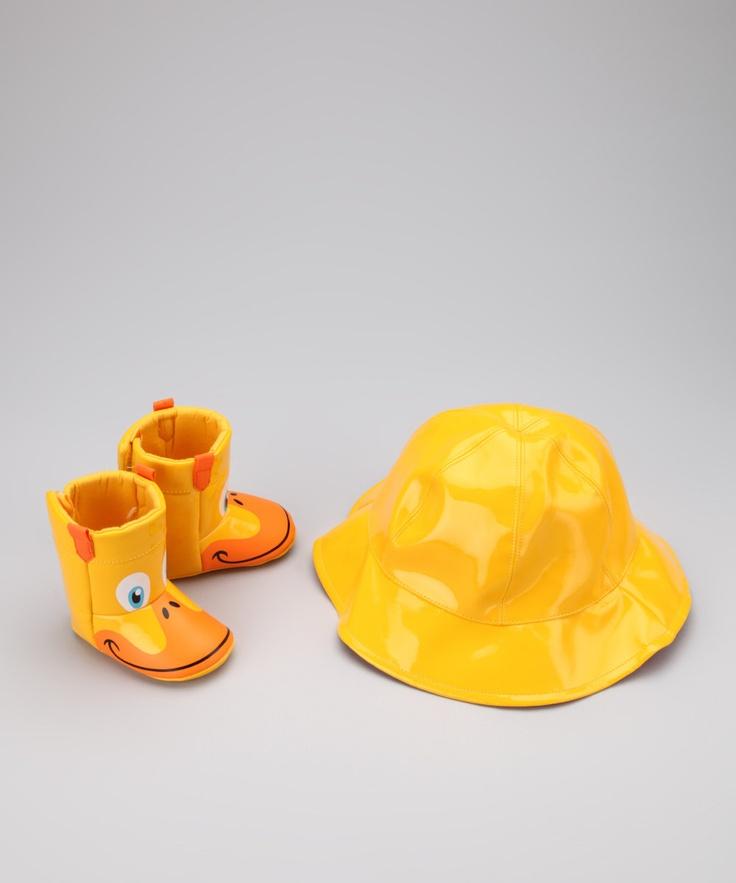 love this rain gear yellow duck rain boot u0026 hat set zulily baby deer - Duck Rain Boots