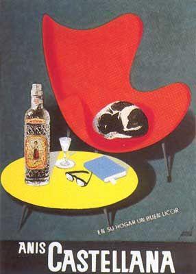 En su hogar, un buen licor | Anís Castellana - Spanish advertising poster by Manolo Prieto (1961)