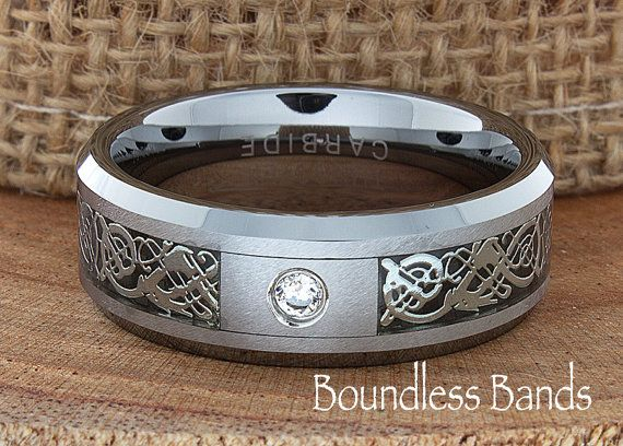 Celtic Dragon Diamond Ring Wedding Band Flat by BoundlessBands