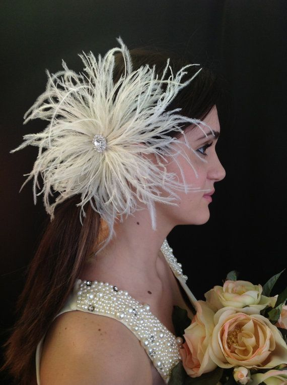 ATHENA Ivory Ostrich Feather Bridal Hair Ornament by AtelierEight