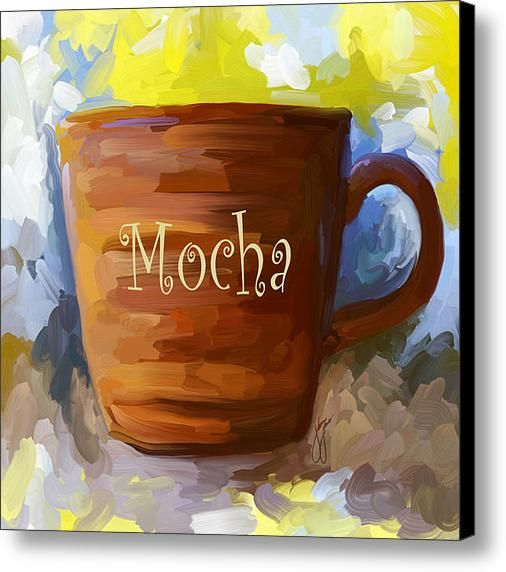 Set Of 3 Coffee Cup Canvas Wraps: Mocha Coffee Cup Canvas Print
