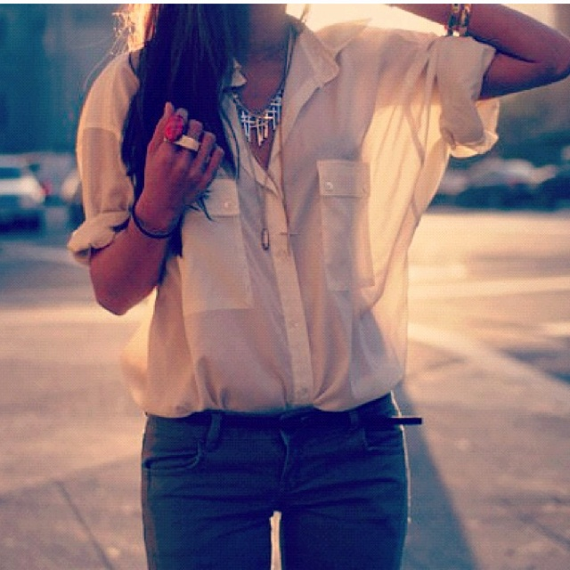 (:: Style, Buttons Up, White Shirts, Outfit, Sheer Tops, Jeans, White Blouses, Green Pants, Olive