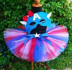 Girls Halloween Costume Tutu Set - Captain America -