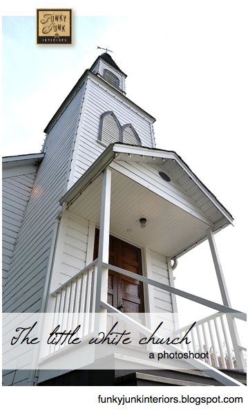 I love photos of old churches, interesting perspective:   A photo shoot of a lovely little white church, located in Langley BC Canada. By Funky Junk Interiors
