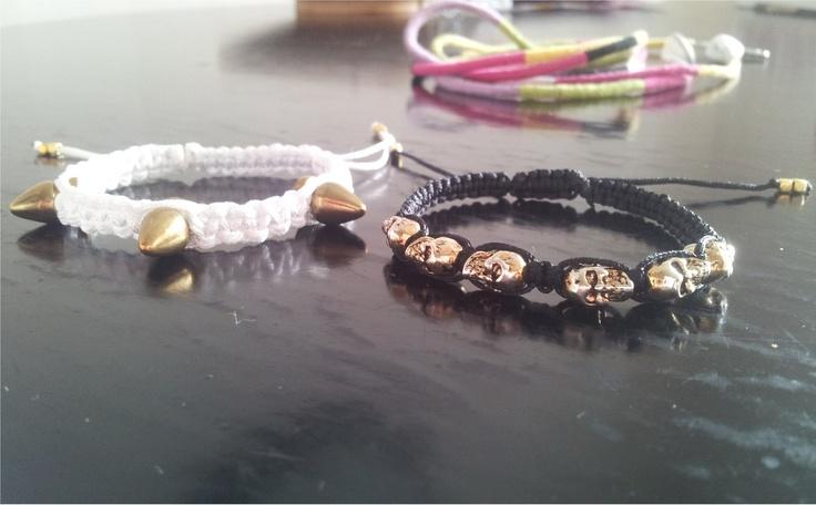 Makrame bracelet, skulls and studds. DIY on my blog. Designanddiy.wordpress.com