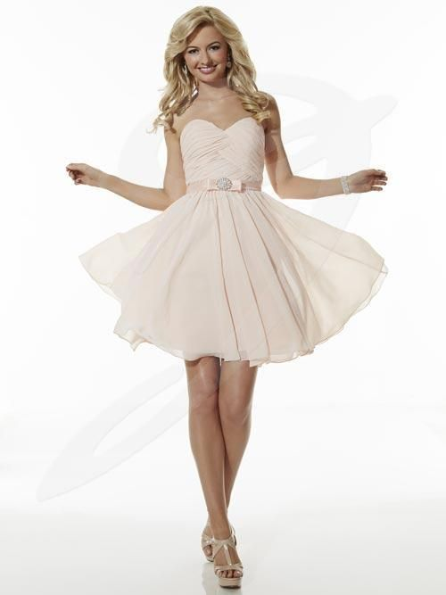 Balletts Bridal - 21362 - Bridesmaids by Jacquelin Bridals Canada - Strapless Sweetheart Neck Short Chiffon Gown with Pleated bdoice and Satin Band with box/broach detail