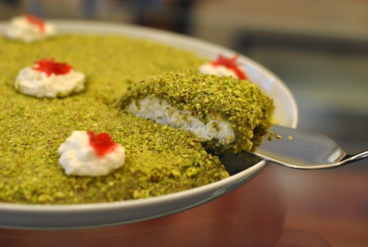 Bohsalino – Sweet pistachio paste filled with creamy kashta cheese. A Lebanese delicacy!