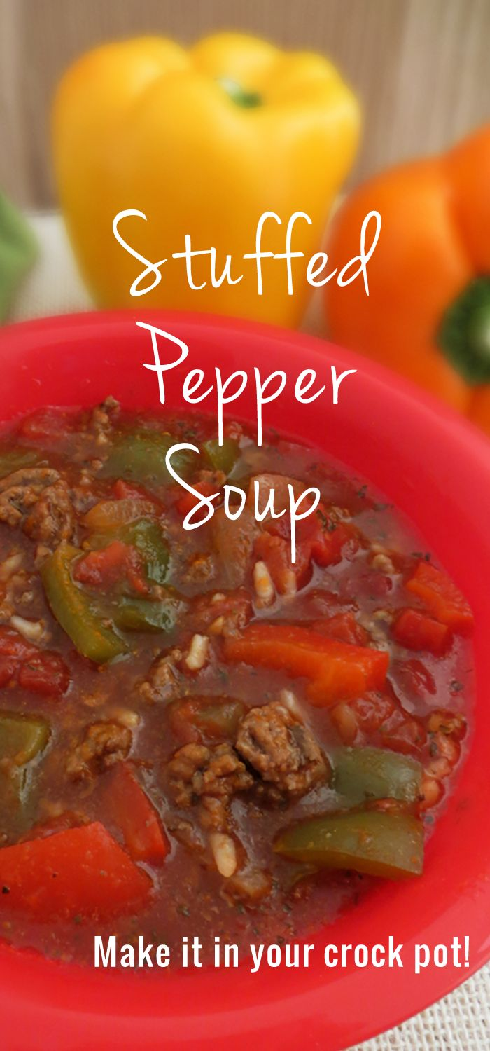 We love this crock pot stuffed pepper soup recipe. To make it even better, add some chili seasoning to it! Perfect slowcooker soup.