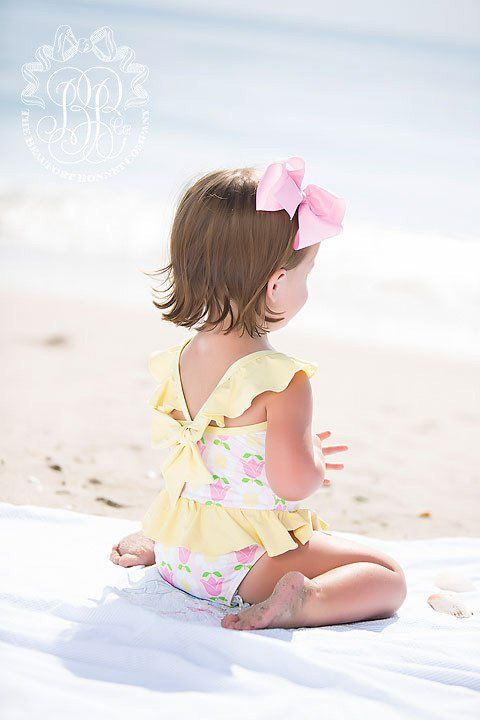 St. Lucia Swimsuit - Fairhope Flowers with Seaside Sunny Yellow | The Beaufort Bonnet Company