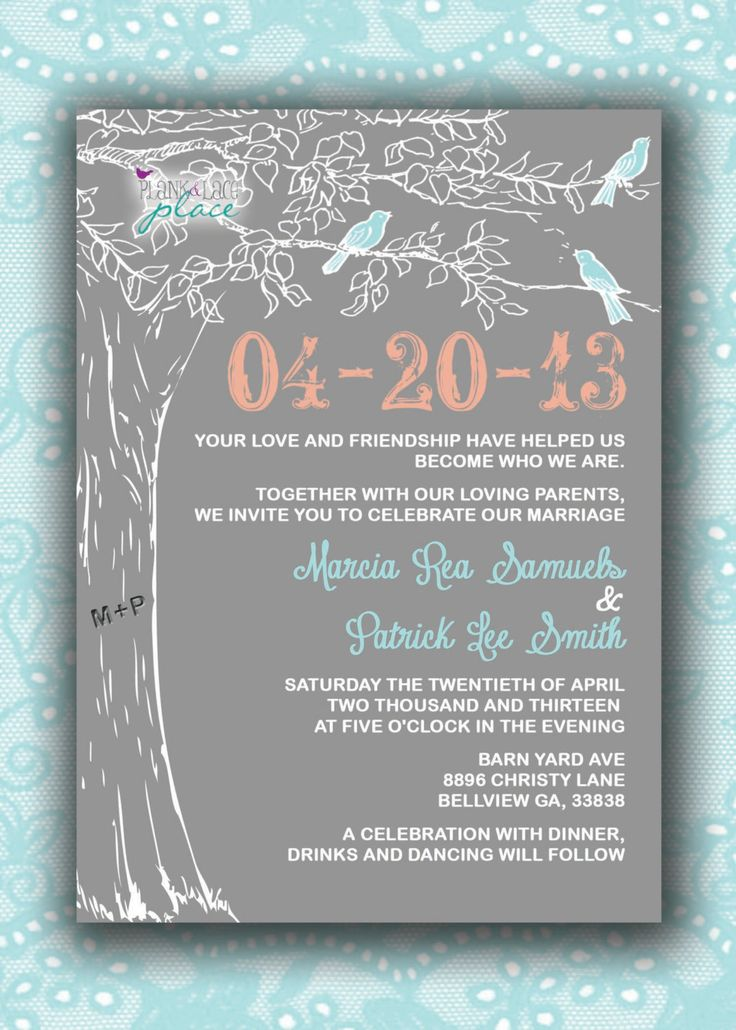 free wedding invitation templates country theme%0A Love Birds in a Tree Wedding Invitations by FPStationary on Etsy