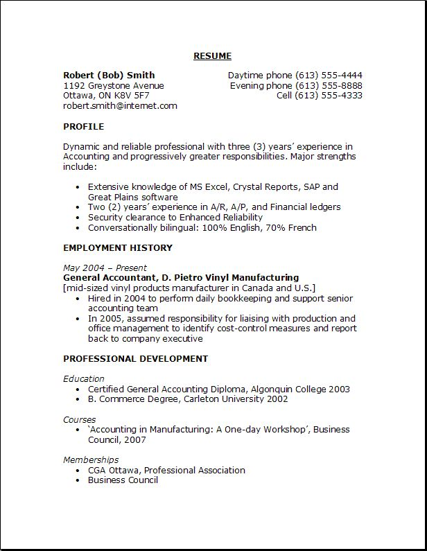 Resume Outline Examples - Examples of Resumes - outline for resume