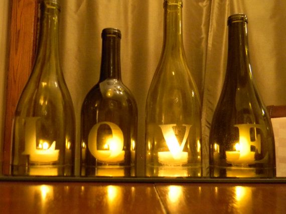 Ideas using wine and beer bottles for  decorations.