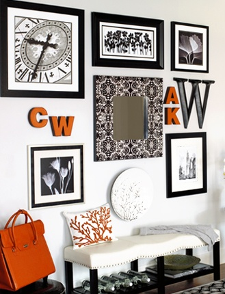 Wall Gallery   Mix U0026 Match Frames (coordinating The Frame Color Helps Unify  The Collection). Trace The Frames On Craft Paper, Position Them On The Wall  With ...