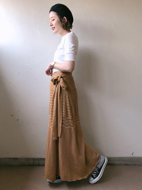 先日のコーデ❤ キャメルのようなイエローのニットスカートがめちゃ可愛くてgetしましたー😍 トッ
