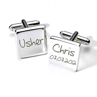 Personalised Usher wedding cufflinks personalised for with his name