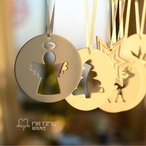 Christmas Gift aesthetic Brief ceramic decoration cutout finaning christmas Tree Hangings