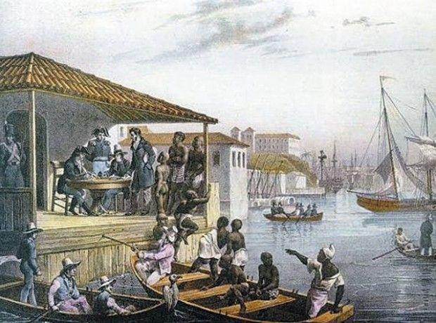 Desembarque de escravos no Cais do Valongo, pintado por Rugendas em 1835.