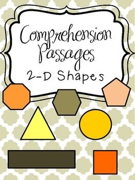 Reading Comprehension Passages - 2-D Shapes - Packet of comprehension passages all about shapes - great integration of subject areas! Shapes included: circle, triangle, square, rectangle, pentagon, hexagon, octagon