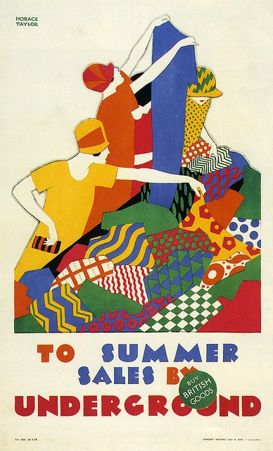 To Summer Sales by Underground.    Poster graphic design is contemporary, but  illustration by  Horace Taylor, 1926.