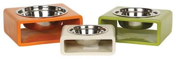 Phorm Pet Feeder, White - transitional - Pet Bowls And Feeding - Obelisk Home