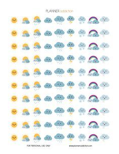 FREE Weather Kawaii Printable Planner Stickers by Planner Addiction