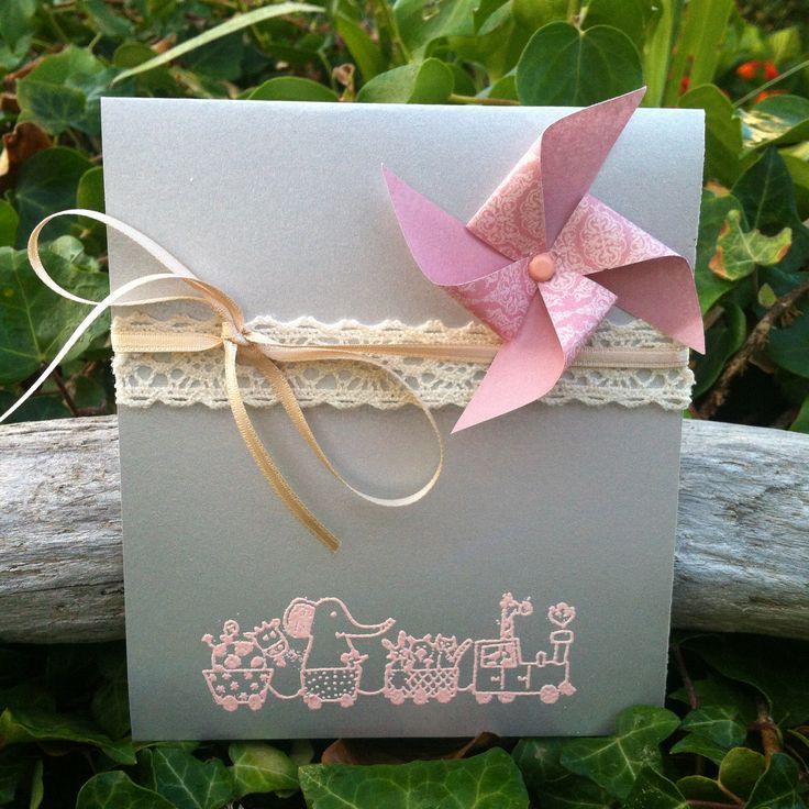 Faire-part de naissance fille gris argenté et rose moulin à vent