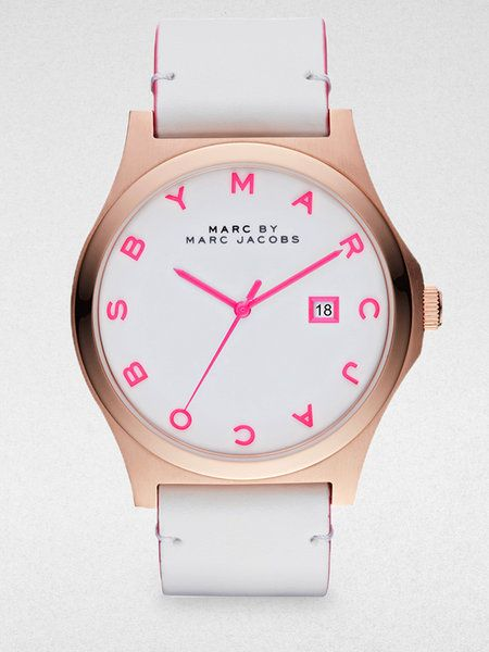 Marc By Marc Jacobs White Henry Rose Gold Finished Stainless Steel Strap Watch White Strap
