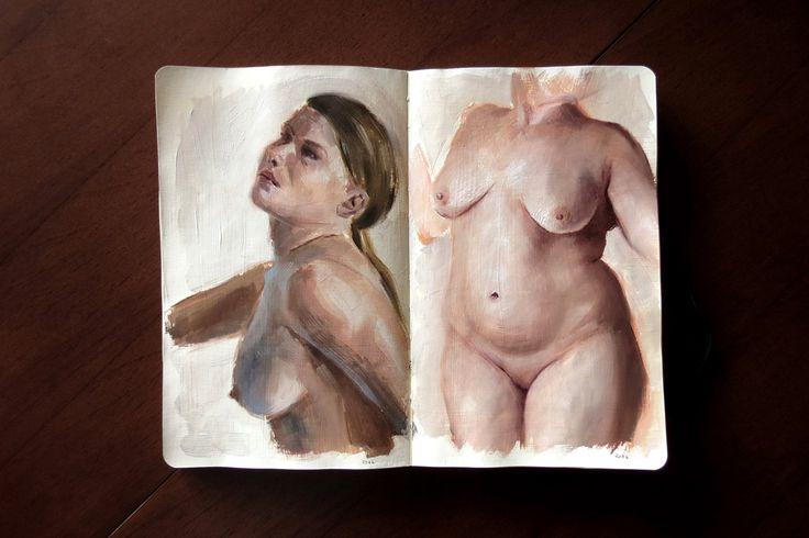 Nude oil studies - sketchbook by Magdalena Dymańska