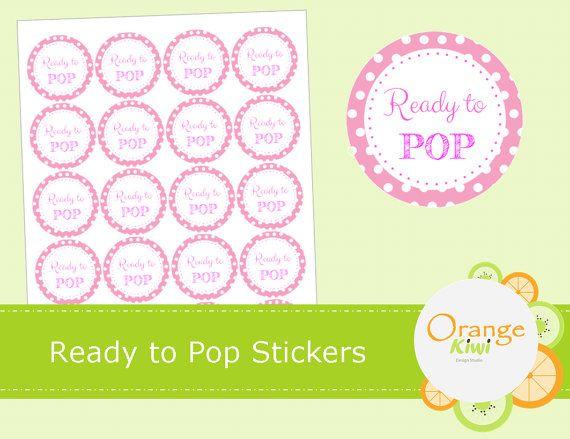 Ready to Pop Stickers  Pink Baby Shower by OrangeKiwiDesign
