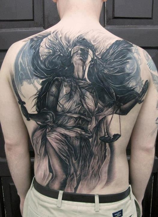 blinded, fighting Justice tattoo, Picture tattoos, Angel