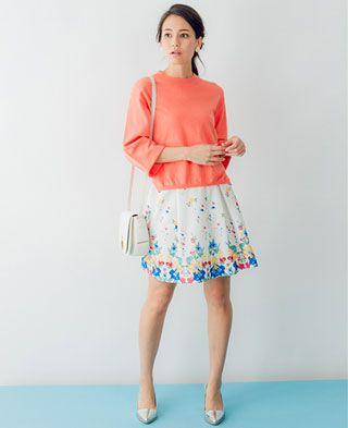 ビビッドなカラーとお花畑のようにキュートなフェミニンスカート♡フェミニン系タイプのコーデ・ファッション・スタイルの参考にどうぞ♡