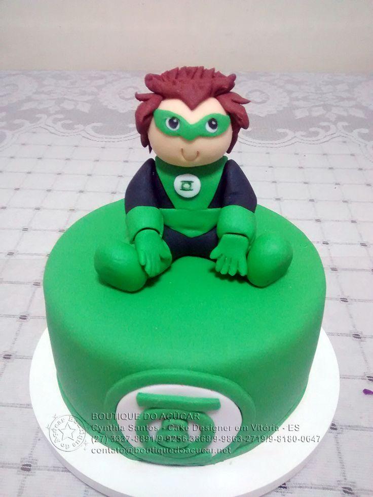 mini bolo Lanterna Verde/Baby Green Latern Cake