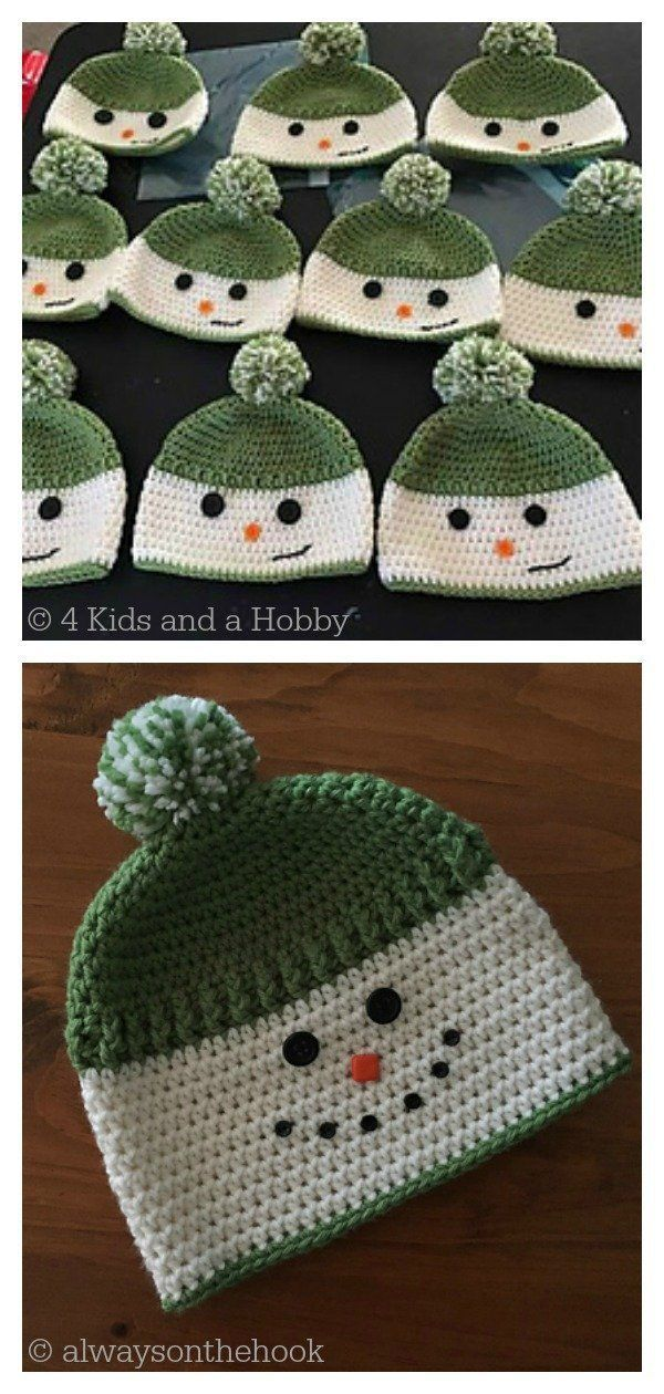 Snowman Hat Free Crochet Pattern Freecrochetpatterns Crochethatpattern Crochetsnowman In 2020 Crochet Hats Free Pattern Crochet Christmas Hats Crochet Hat Pattern
