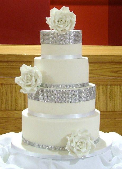 Close Up Of Diamonte White Roses Wedding Cake By RubyteaCakes Via Flickr