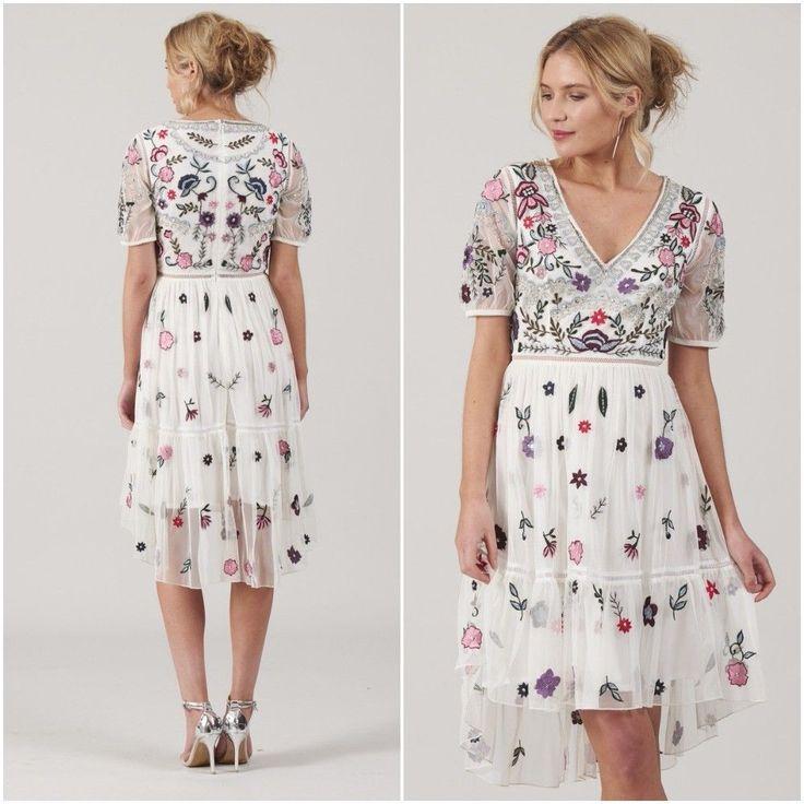 White Floral Embroidered Summer Dress V Neck Dipped Hem Sizes UK 8 10 12 Wedding
