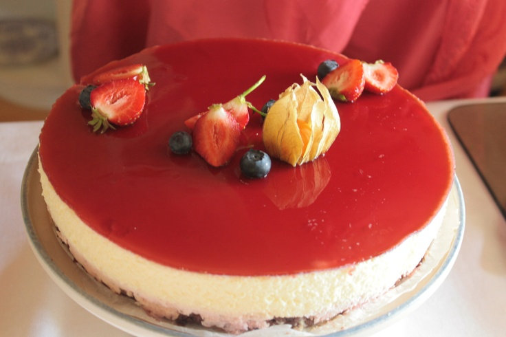 Strawberry and white chocolate mousse cake made by my friend