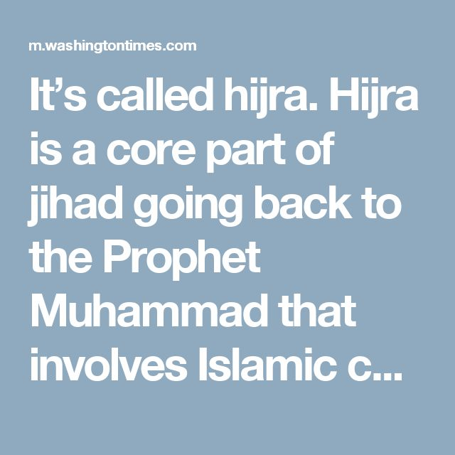 It's called hijra.  Hijra is a core part of jihad going back to the Prophet Muhammad that involves Islamic conquest through migration. The objective is to overwhelm non-Muslim territories with Muslim populations until they achieve domination through sheer numbers. No weapons necessary — until they gain enough control.
