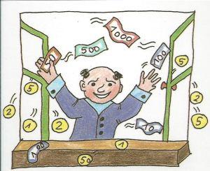 Das Geld zum Fenster raus werfen - German proverb (for English translation and more idioms see link)