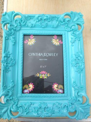 Cynthia Rowley Ornate Baroque Aqua Blue Picture Photo